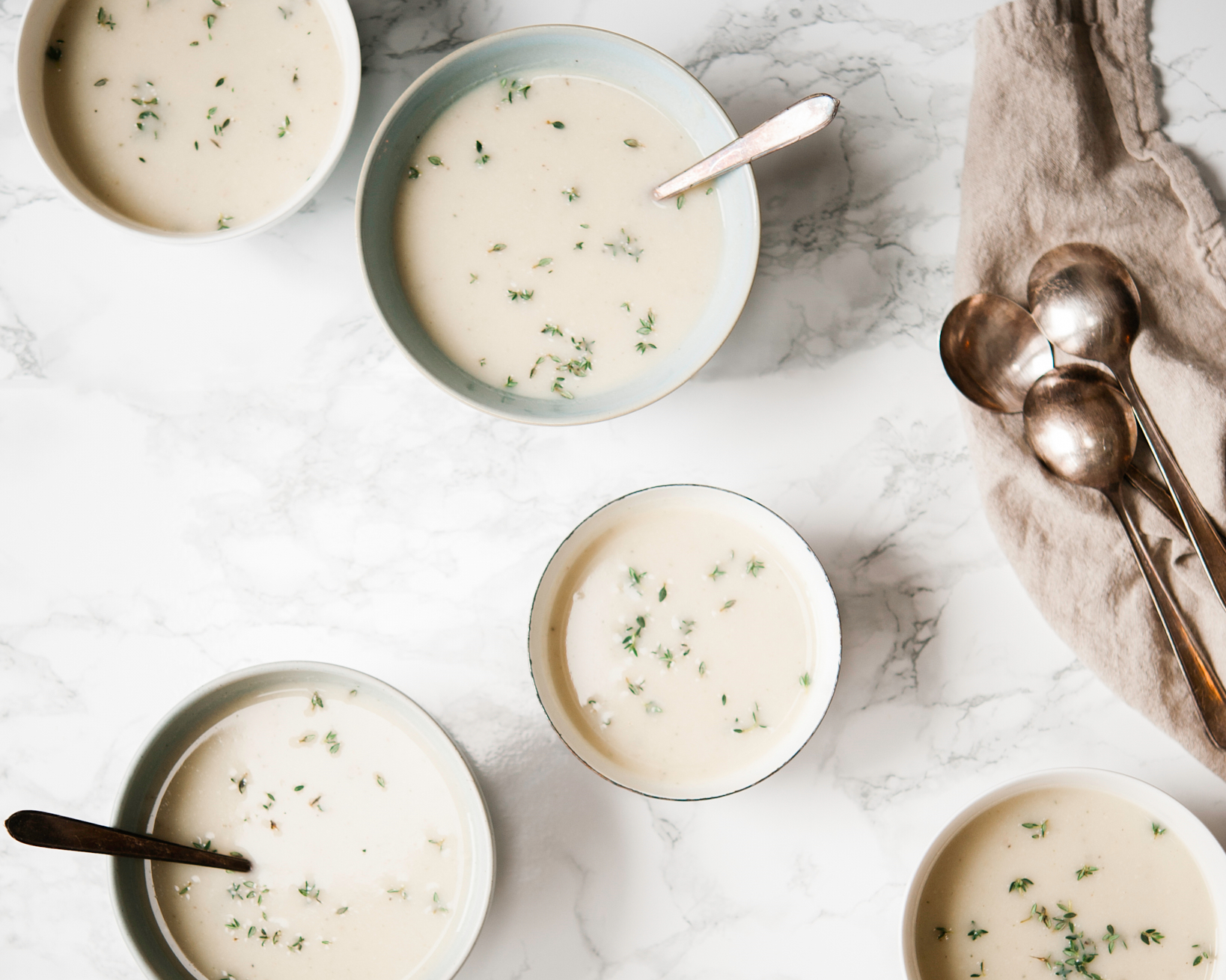 This cauliflower soup is made with cauliflower and celeriac and is dairy free.