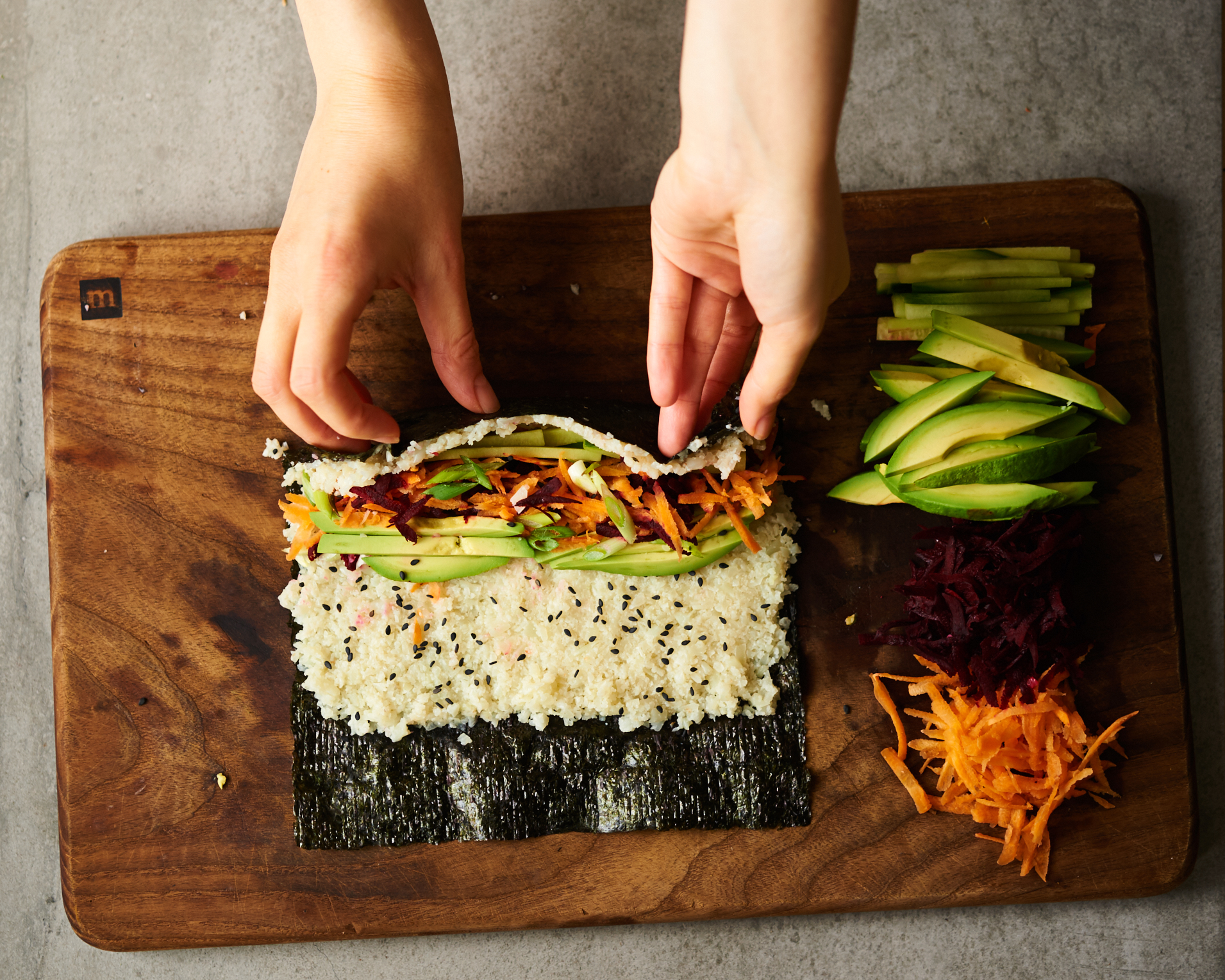 This recipe will teach you how to make sushi out of cauliflower rice that is grain free, vegan and paleo.
