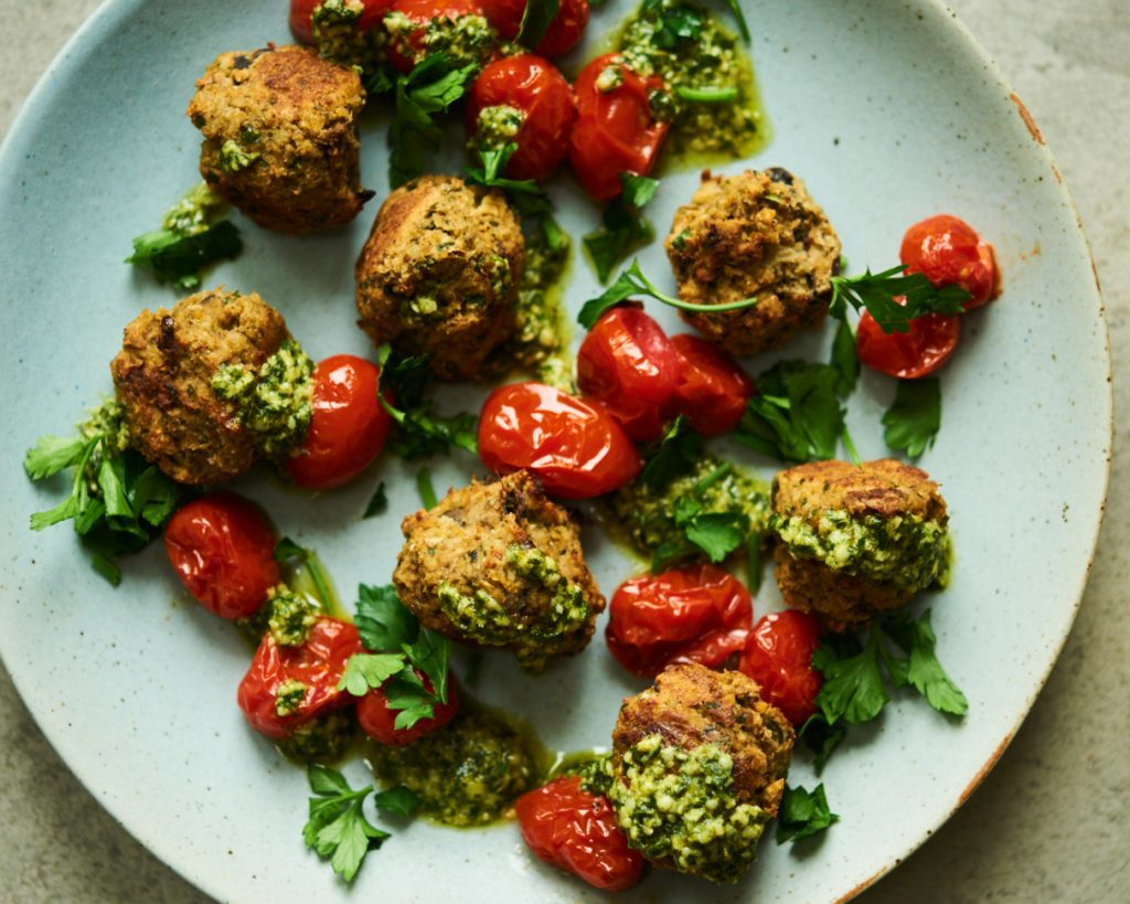 These vegan meatballs are made with eggplant and are gluten free.