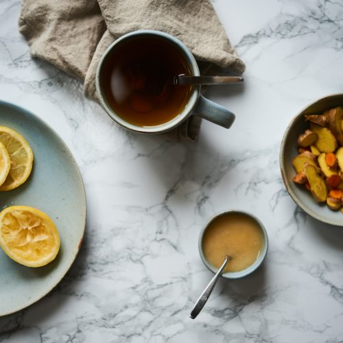 This ginger tea is also made with turmeric and is so helpful for when you're sick, have a cold or sore throat.