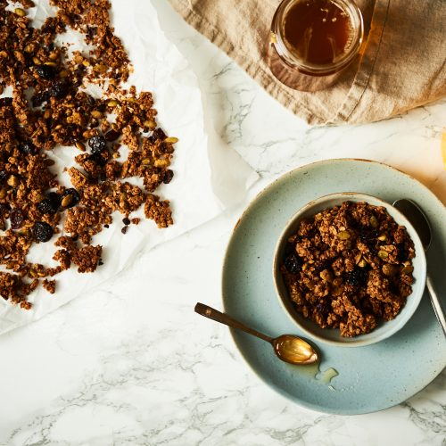 This granola is made with cacao nibs and dried cherries and sweetened only with honey, it's gluten free and vegan.