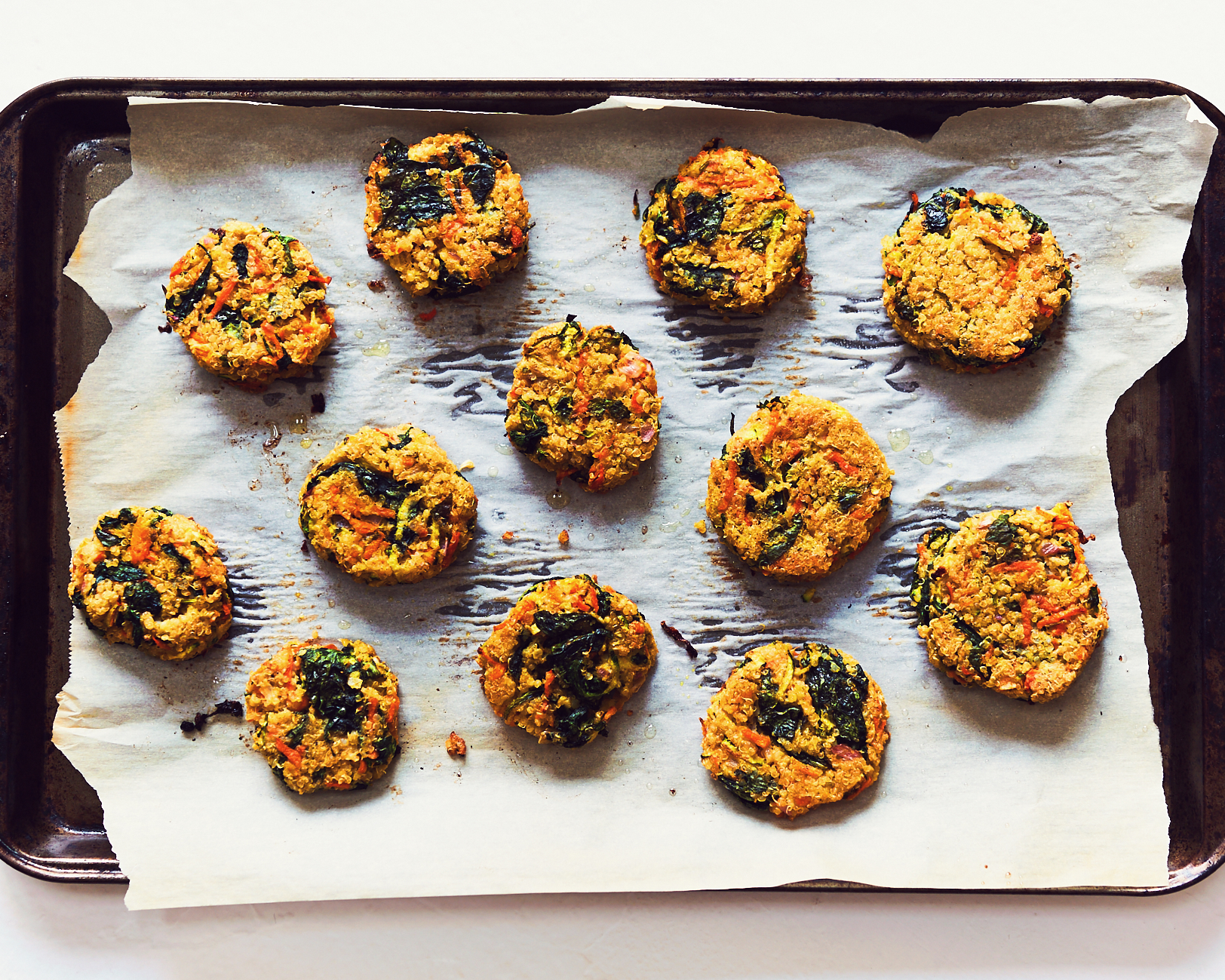 These quinoa patties are also veggie burgers and are gluten free and vegan. They have quinoa, tahini, spinach, shallots, carrots and zucchini.