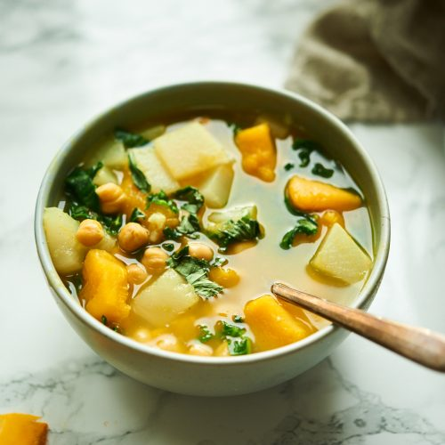 This squash, chickpea and kale soup is a really easy recipe. Add in miso for more flavor.