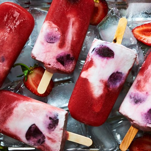 These strawberry popsicles are made with coconut milk and dairy free and also have cherries.
