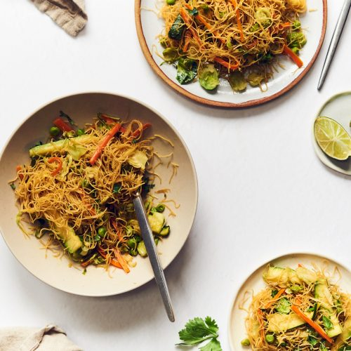 This stir fry is made with rice vermicelli noodles and lots of vegetables. It's vegan, but can also be made gluten free, grain free and carb free.