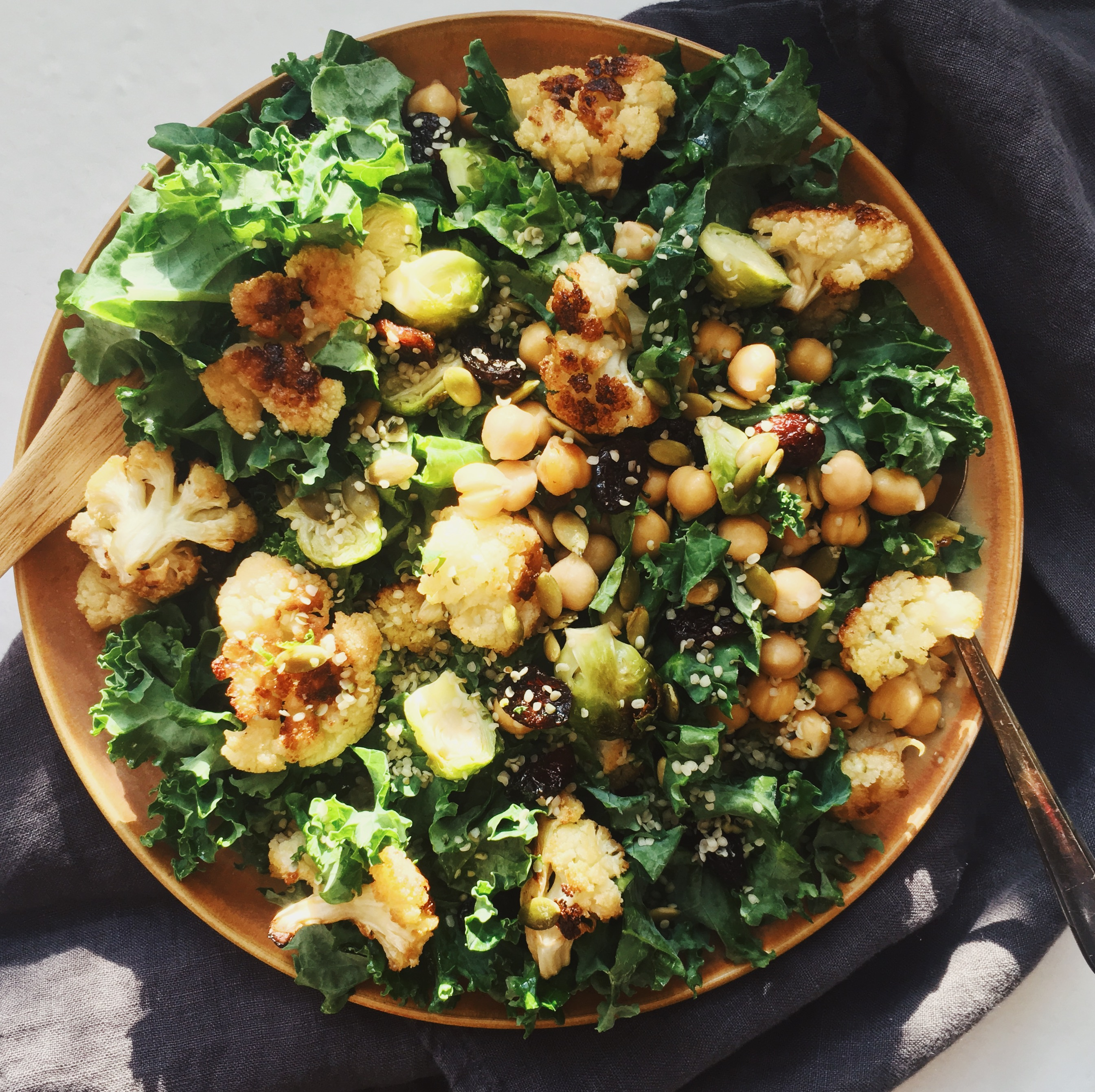 cauliflower Brussels sprouts salad