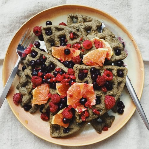 These gluten free buckwheat waffles are delicious.