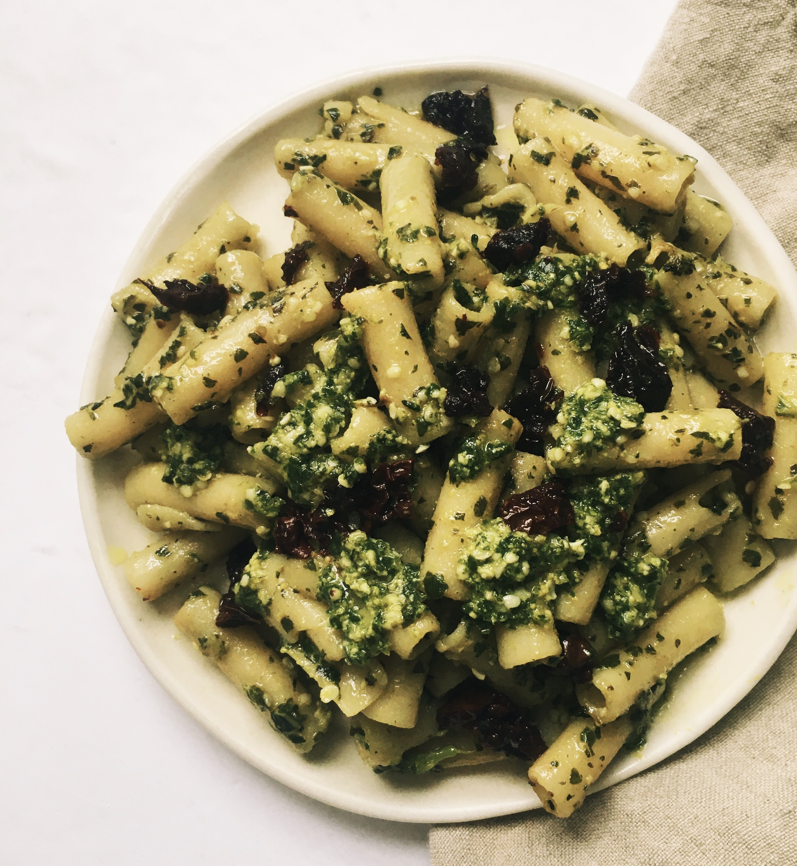 Dairy free pesto is easy to make with nutritional yeast.