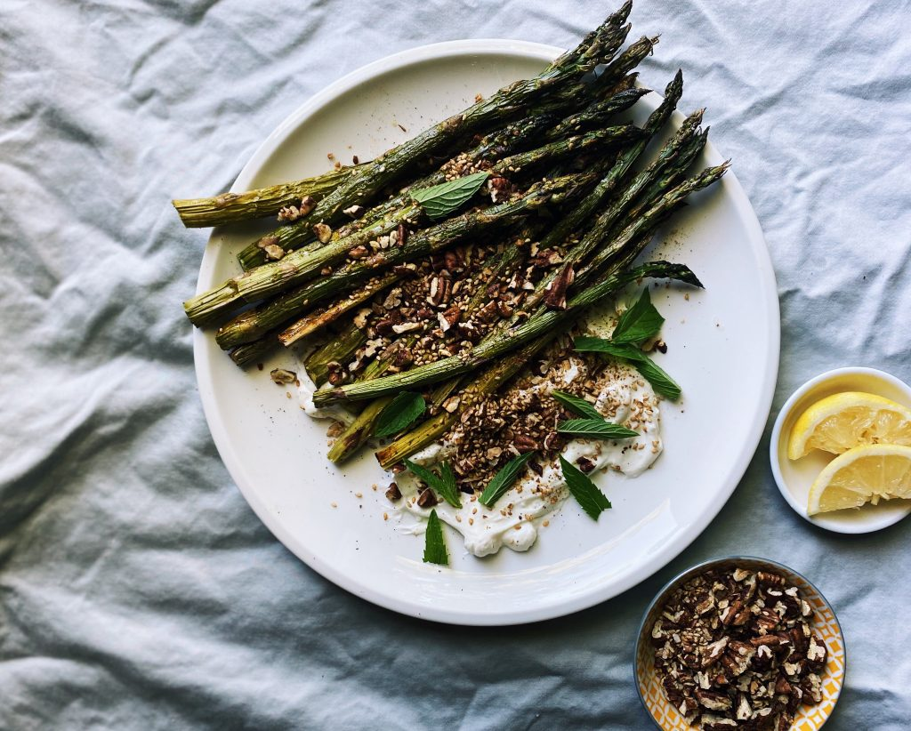 Living Kitchen Roasted Asparagus with Labneh and Dukkah