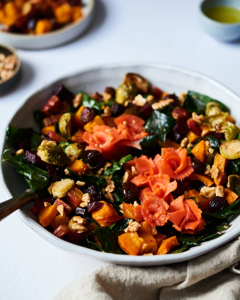 autumn salad with brussels sprouts, butternut squash, beets kale and smoked salmon