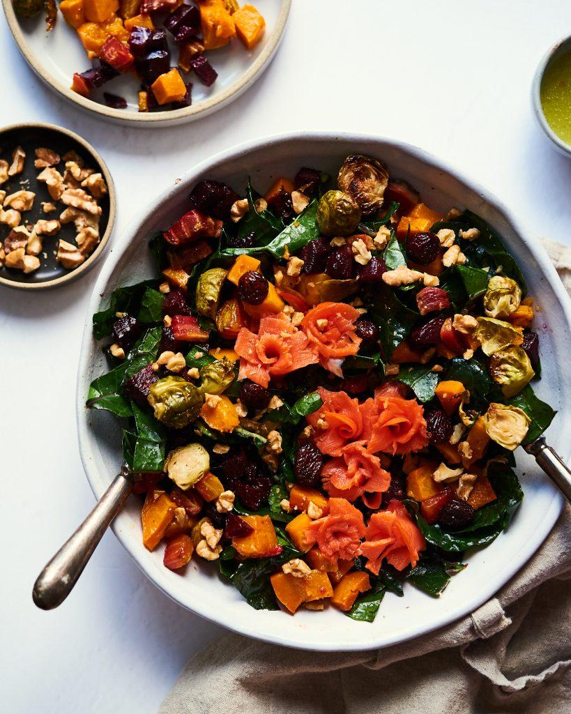 rainbow autumn salad with smoked salmon