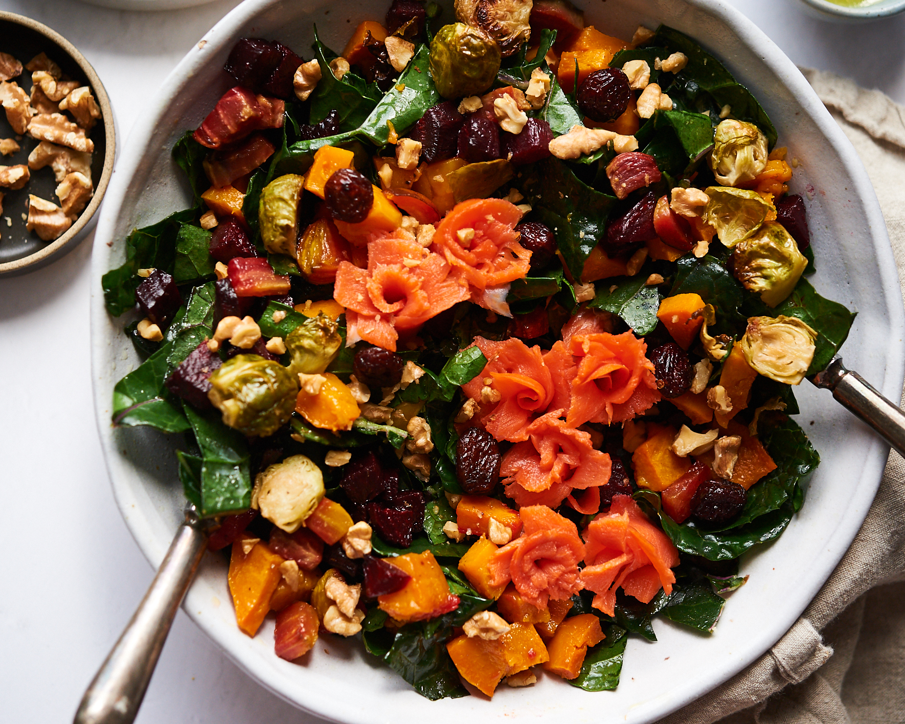 Brussels sprouts, butternut squash, beets and smoked salmon salad