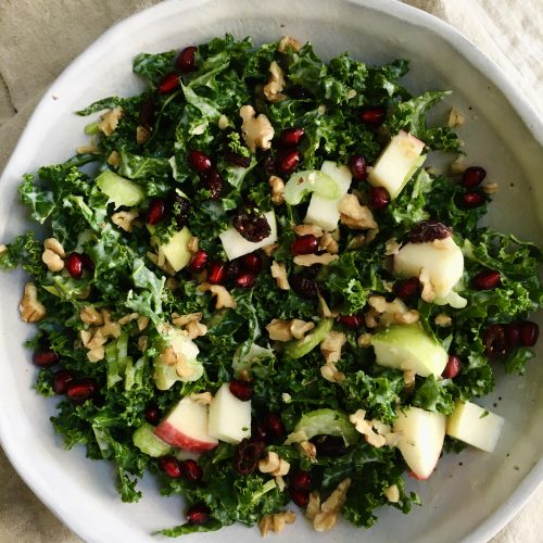 holiday kale waldorf salad
